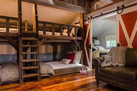 bunk bed rooms kids rustic room with bunk beds and barn door fresh