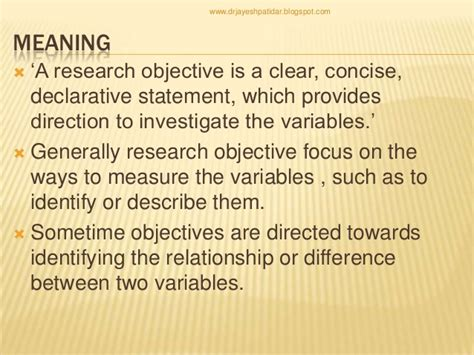 objective statement meaning writing research objectives