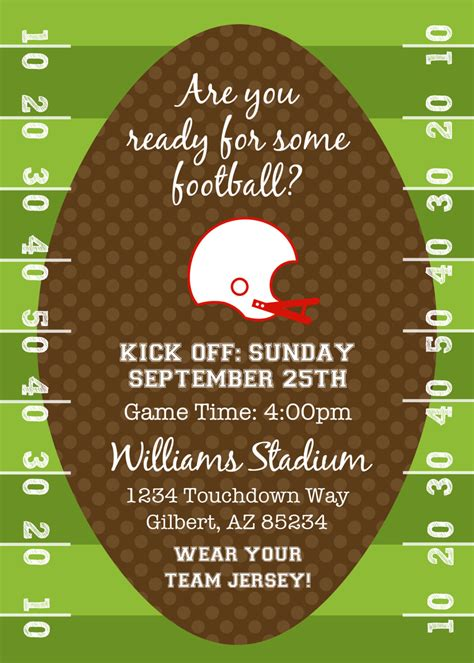 Football Invitation Template by Football Or Tailgating Birthday Or Shower