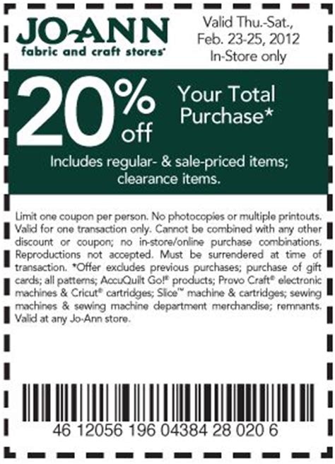 printable joann fabric coupons 2012 joanns coupons weekly ad