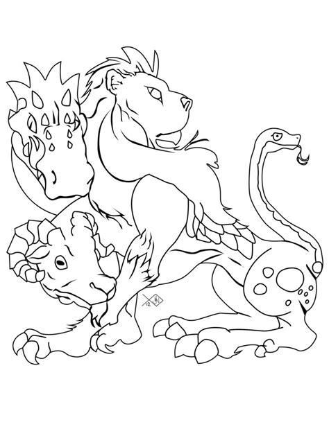 chimera line art by ursus327 on deviantart