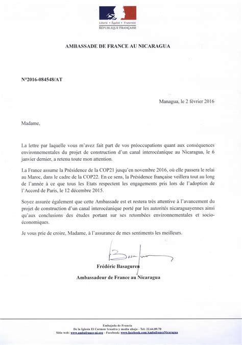 Exemple De Lettre R Ponse A Une R Clamation Client courrier de r 233 ponse sur canal du nicaragua envol vert