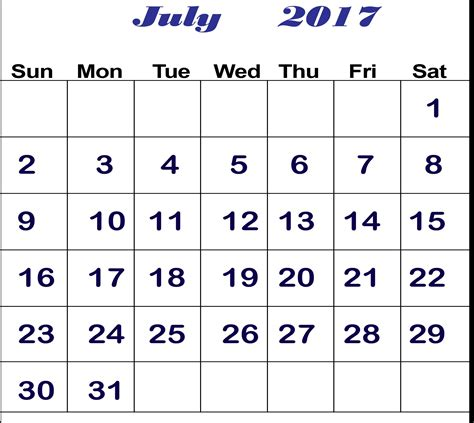 Calendar Image July 2017 Calendar Free Template Hd Pictures