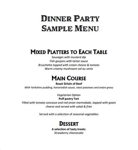 9 Event Menu Templates Sle Templates Dinner Menu Template