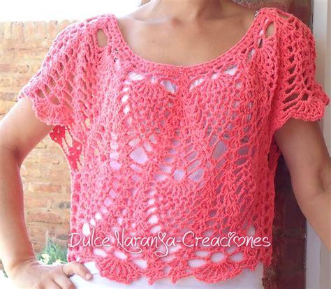 videos de como hacer blusas tejidas a crochet blusa corta tejida en crochet color coral crochet y dos