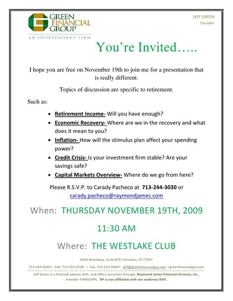 free seminar invitation templates retirement seminar invitation november 19th 2009