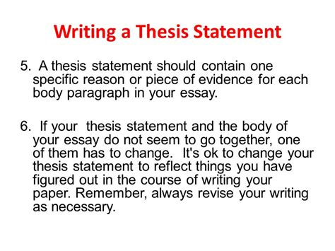 Argument Essay Thesis by Writing A Thesis Statement Ppt