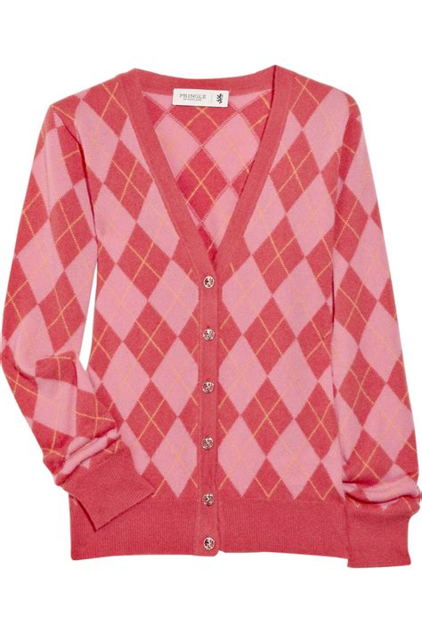 pink pattern cardigan pringle of scotland cashmere argyle cardigan in pink lyst