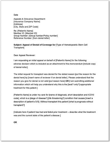 Standard Medicare Appeal Letter Templates Appeal Letter Template