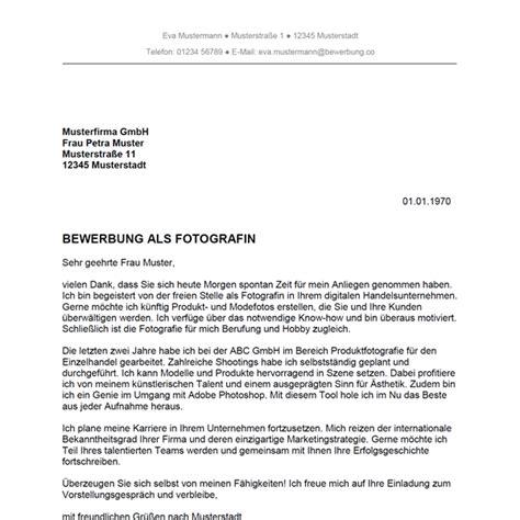 Bewerbungsschreiben Ausbildung Fotograf Bewerbung Als Fotograf Fotografin Bewerbung Co