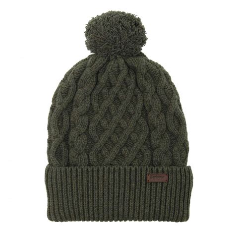 Barbour Cable Knit Beanie Olive Mens Accessories From