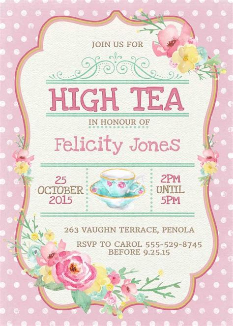 birthday invites beautiful princess tea party invitations