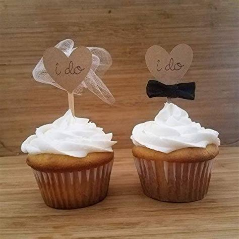 Amazon.com: Wedding Cupcake Toppers Bride and Groom, I Do