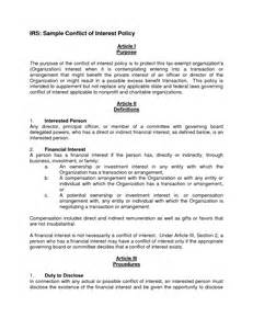 conflict of interest policy template conflict of interest policy template