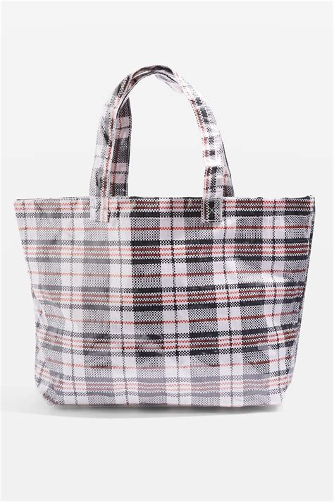 Check Your Luggage With Topshops Laminated Holdall The Bag by Marty Check Unlined Tote Bag Topshop Usa