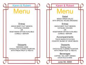 Wedding Reception Menu Template by Wedding Menu Template 5 Free Printable Menu Cards