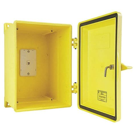 Weatherproof Door by Gai Tronics Weatherproof Enclosure Box For Telephone With Loaded Door Yellow