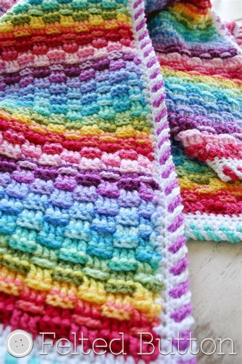 felted button colorful crochet patterns baskets of rainbows blanket