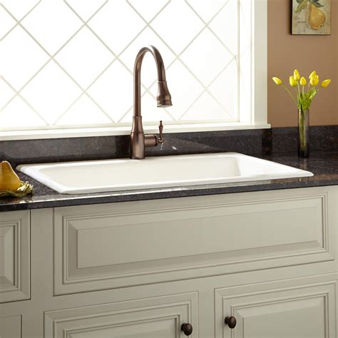 Drop In Kitchen Sinks 36 Quot Frattina Cast Iron Drop In Kitchen Sink Cast Iron