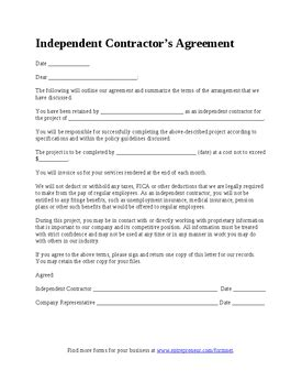 self employed contractor agreement template related keywords suggestions for independent contractor