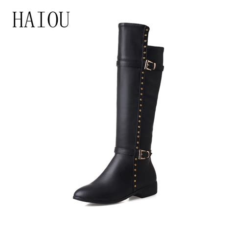 knee high boots rivets boots black leather tight