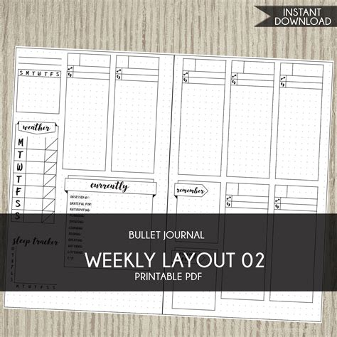 layout journal download bullet journal template printable planner weekly layout bujo