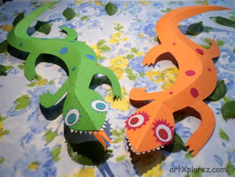 Paper 3d Crafts - 3d lizard paper craft artxplorez