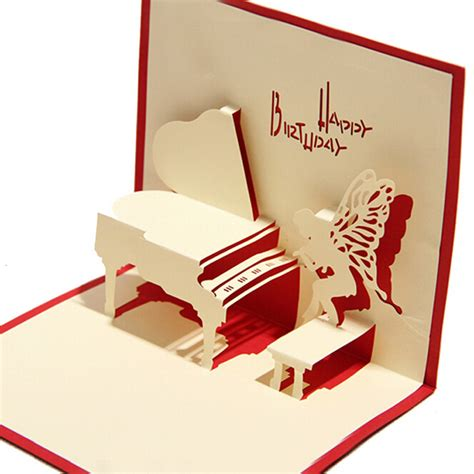 Birthday Pop Up Cards Handmade - aliexpress buy 10 pieces lot piano birthday card 3d
