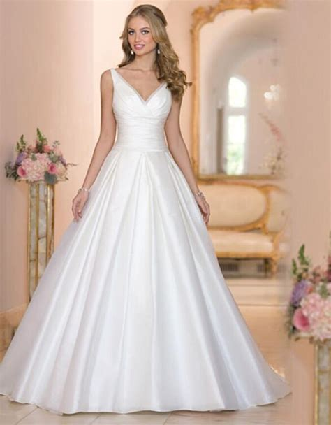 Cheap White Wedding Dresses by Designer New 2016 White Wedding Dresses V Neck Satin Cheap
