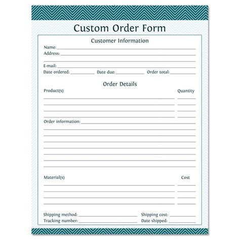 Printable Custom Order Forms | custom order form fillable business planner