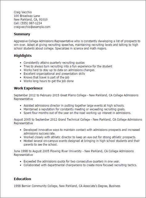 College Admission Resume Template by Professional College Admissions Representative Templates