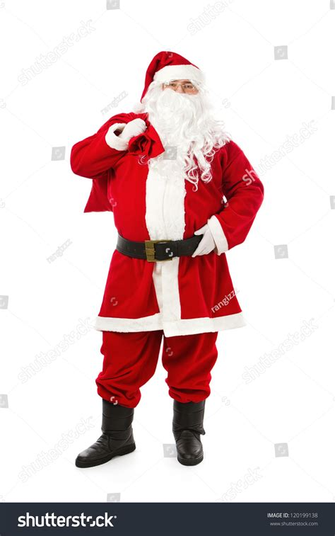 free standing santa claus santa claus standing isolated on white stock photo