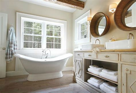Repurposed double vanity cottage bathroom maeve s way