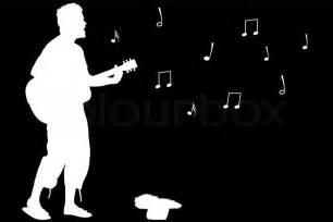 white silhouette guitar guy singing abstract white silhouette isolated on