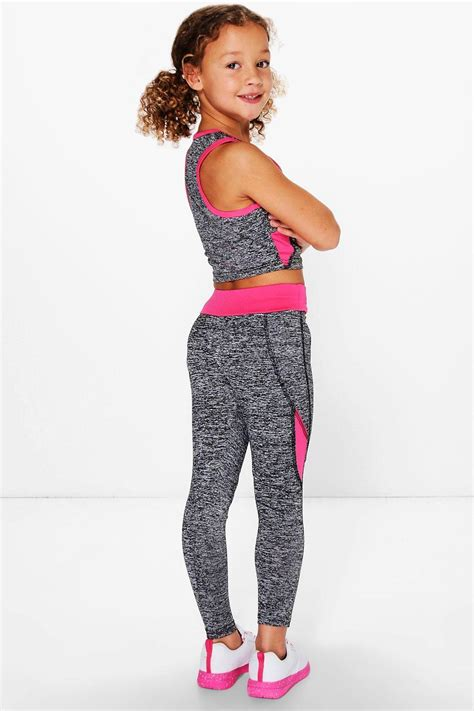 Set Leging boohoo womens sports crop top and legging sports set