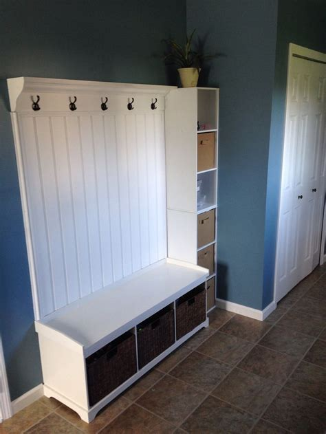 beadboard bench mudroom coat hanger and storage bins for the home