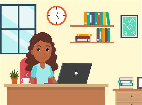 cartoon african american woman working  home