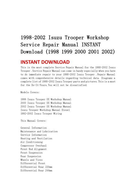 service manuals schematics 1998 isuzu trooper regenerative braking 1998 2002 isuzu trooper workshop service repair manual instant download 1998 1999 2000 2001