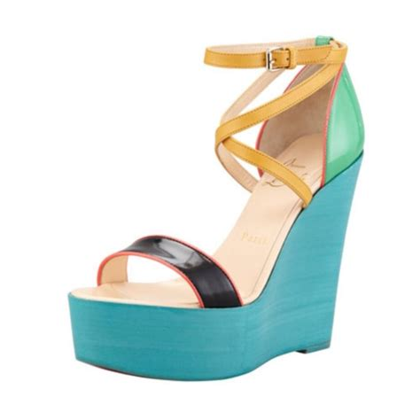 colored wedges christian louboutin zeppa color block multi colored wedges