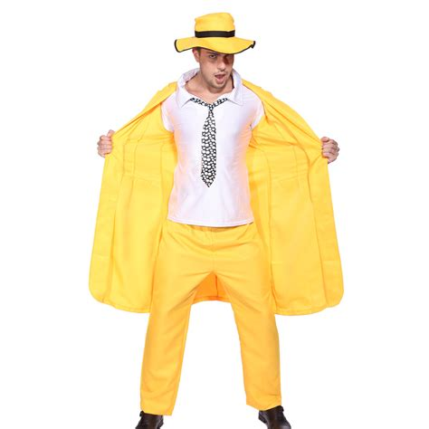 90s fancy dress ebay uk the mask jim carrey costume 90s movie yellow gangster suit