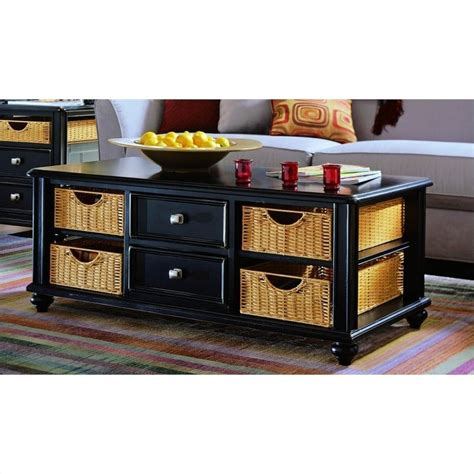 Coffee Table With Storage Baskets Camden Black Coffee Table With Wicker Baskets In Black 919 910