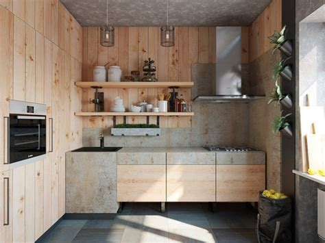 natural wood kitchen with rustic design
