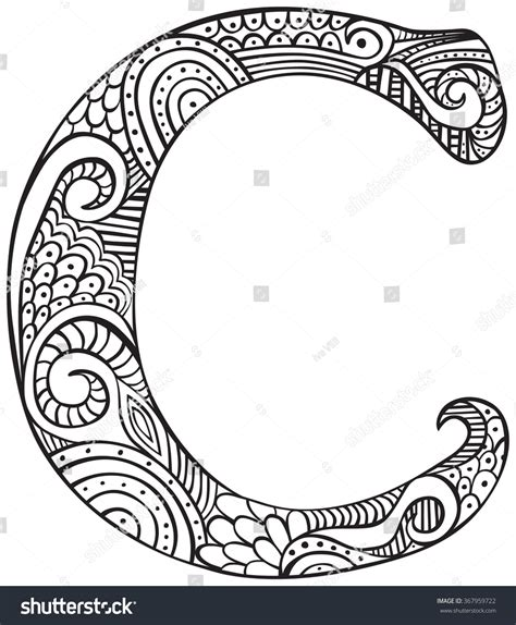 C Coloring Pages For Adults by Capital Letter C Black Stock Vector 367959722