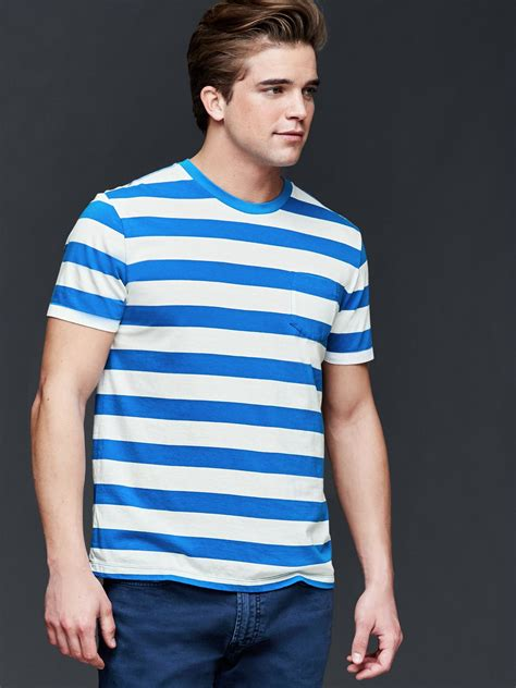 Kaos Gap Stripe Pocket T Shirt Original Blue Green gap vintage wash rugby stripe t shirt in blue for blue stripe lyst