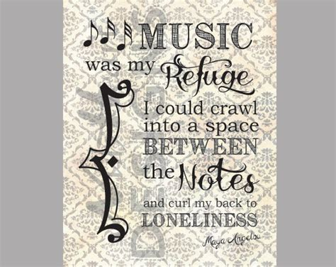 printable quotes about music music was my refuge maya angelou quote wall art