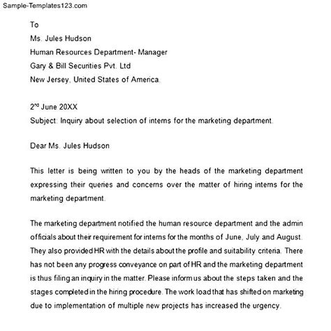 Business Letter Template Enquiry Professional Business Inquiry Letter Sle Templates