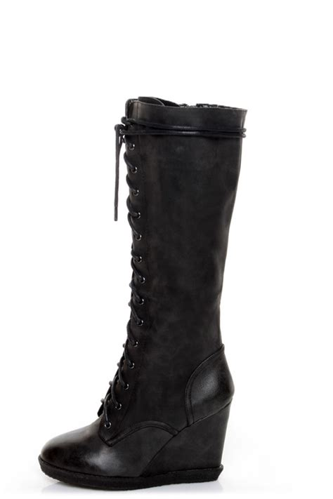 qupid owner 05 black lace up knee high wedge boots 47 00