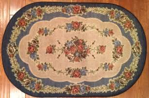 3x4 oval kitchen rug mat floral washable throw rubber back flower blue ebay