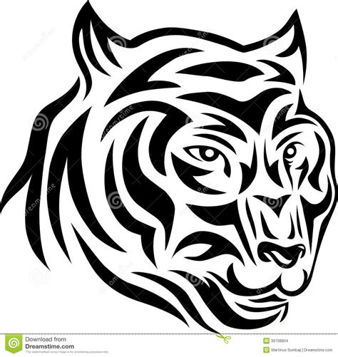 tiger face tribal tattoo tiger tribal stock vector image 39708804
