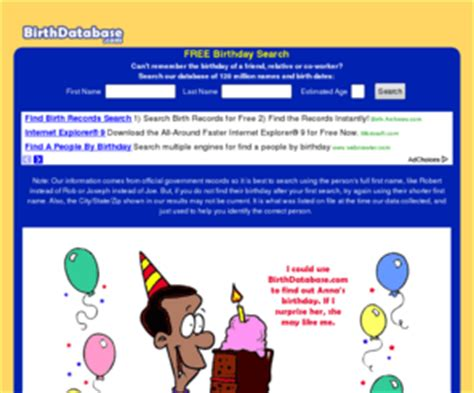 Free Search By Date Of Birth Birthdatabase Free Birthday Database